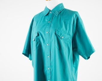 Vintage Western Shirt | Turquoise Cowboy Shirt | Pearl Snap Buttons | XL