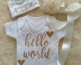 Hello World Baby Bodysuit with or without Custom Beanie Newborn - 12 months