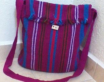 Peruvian Wool Cross Body Style Bag/ Ethnic Shoulder Wool Bag/ Handmade Peruvian Wool Bag/ Messenger Wool Bag/ Tribal Handwoven Bag