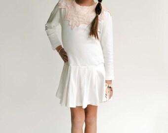 Fair Maiden - Girls Perisian Pleated Drop Waist Cotton & Lace Dress