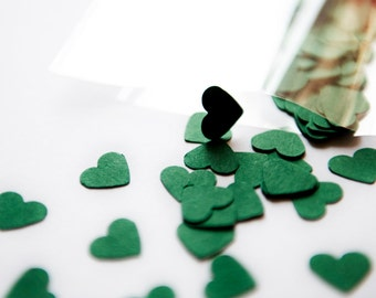 300 Forest Green Confetti. A set of dark green heart confetti for wedding, scrapbooking, parties, decoration. Die cut hearts - Forest Green