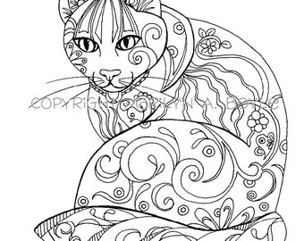 COLORING BOOK; five PAGES on 140 lb watercolor paper, original art, butterflies, cat, fish, rooster, owl, adult coloring pages