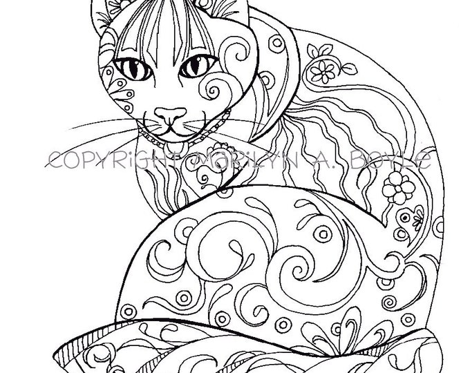 COLORING BOOK; five PAGES original art, butterflies, cat, fish, rooster, owl, adult coloring pages