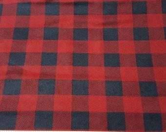 Flannel Fabric - Red Black Buffalo Check - 1 yard - 100% Cotton Flannel