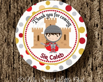 Knights thank you tag - knight printable - knight party favor tag -  knight birthday - knight label - knights cupcake topper
