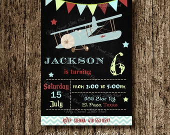 Chalkboard vintage plane invitation - plane invite - vintage plane printable - plane baby shower - aviator birthday - vintage plane