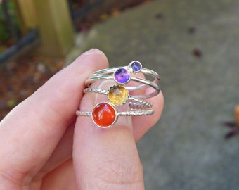 Sterling silver gemstone stacking ring with your choice of stone - made to order