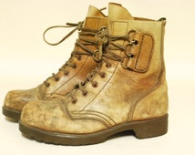 Mens Tan Leather Boots 90s Vintage Distressed Grunge Lace Up Combat Steel Cap Vtg 1990s Size 8