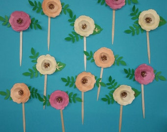 Flower Cupcake Toppers, Boho Theme,Tea Party, Birthday, Bridal Shower, Baby Shower, Engagement, Spring, Garden Party Cupcake Toppers