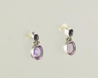 Sterling Silver Amethyst & Garnet Stud Earrings