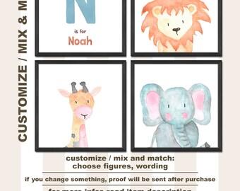 safari nursery art personalized, safari baby boy gift, watercolor nursery art, jungle nursery art, safari baby boy nursery,jungle baby decor
