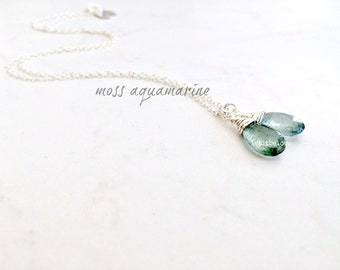 Moss Aquamarine Necklace Silver Aquamarine Necklace Aquamarine Jewelry Handstamped Initial Personalized necklace March Birthstone gift