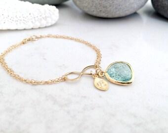 Aquamarine Bracelet Personalized letter Bracelet Infinity Bracelet erinite aquamarine Initial Bracelet monogram bracelet monogram jewelry