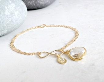 Crystal Bracelet Monogram Initial Bracelet Personalized Infinity Bracelet hand stamped letter Leaf Infinity Crystal gold monogram jewelry