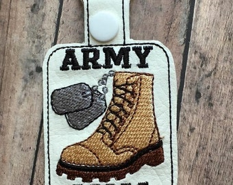 ARMY - Mom - Combat Boot - Dog Tags - Key Fob Design - DIGITAL EMBROIDERY Design