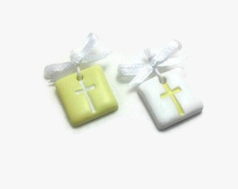 Baptism Favors, Witness Pins, Cross Charms, Yellow Favors, Girl Baptism, Boy Baptism, Baby Shower Favors, Martyrika,Pack of 20, 40, 60