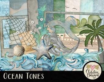 Beach Digital Scrapbooking Kit - Ocean Tones clipart - Swimming Beach, Sand & Summer Digital Scrapbook, Aqua, Teal Blue, Green, Beige