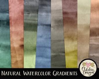 Watercolor Digital Paper Pack - Natural Watercolor Gradient Textured Digital Scrapbook Paper