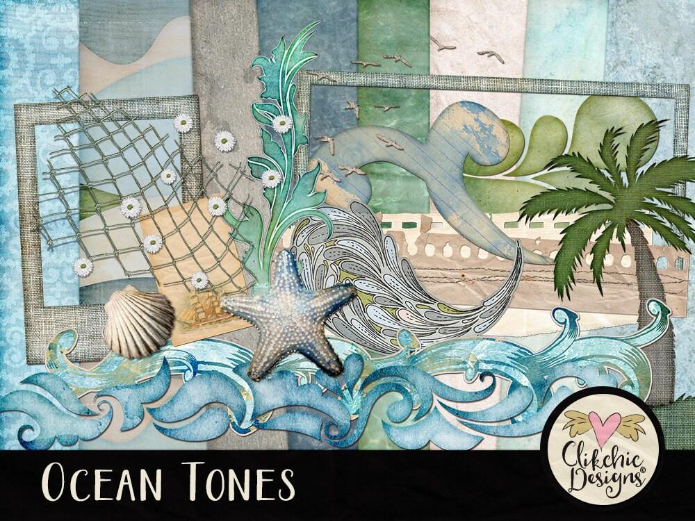 Beach Digital Scrapbooking Kit Ocean Tones clipart