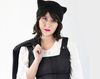 Cat Hat - Cat Ear Beanie - Kitten Hat in Black - Knit Ear Hat - Winter Accessories | The Orion Hat |