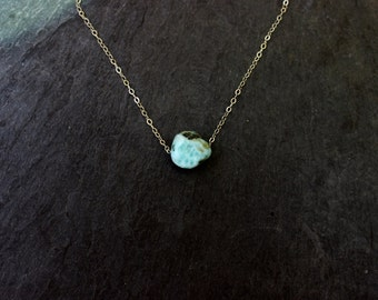 Larimar Silver single stone necklace