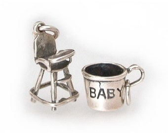 Sterling Baby Charms, Baby Highchair Charm, Sterling Baby Cup Charm, Christening Gift Baby Shower, New Mother, Vintage Charms, High Chair