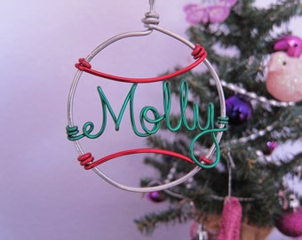 Personalized Baseball Ornament / Wire Ornament/ Christmas Ornament / Holiday Ornament/ Holiday Sports Gift / Couples Gift