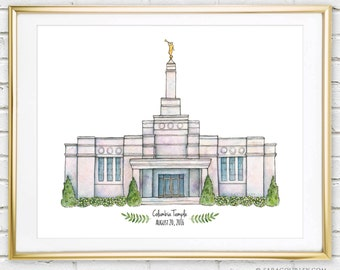Columbia South Carolina Temple Watercolor Art Print- Personalized Gift, Painting, Illustration, LDS Art, LDS Temple, Wedding Gift