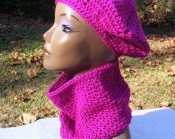 Sparkle/Glitter Hot Pink Beret and Neck Warmer Set, READY TO SHIP