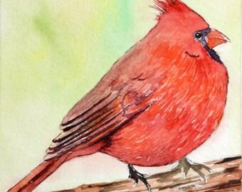 Male Cardinal Mini Watercolor Painting