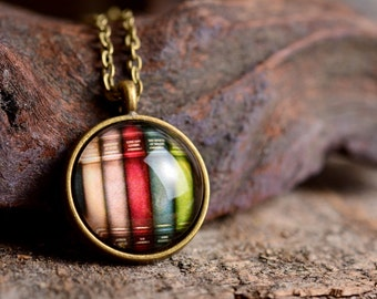 Books necklace, books pendant, readers necklace, books jewelry, book necklace, reader gift, book pendant, gift for book lover