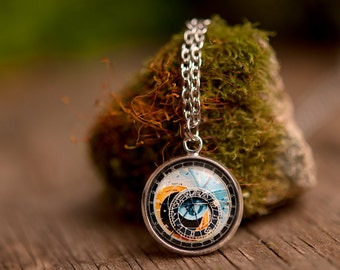 Astronomical clock necklace, tiny necklace, Prague clock necklace, silver plated necklace, steampunk necklace, silver necklace, SomeMagic