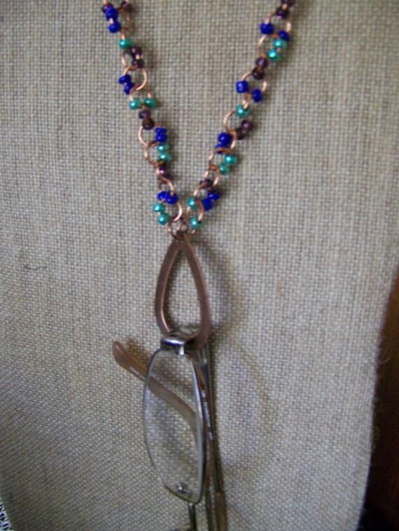 Eyeglass Holder Necklace,Glasses Holder Necklace,Badge Holder Necklaces,Blue Copper Cobalt Seafoam Green Purple Pendant Necklace,#105
