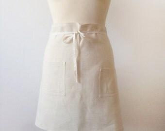 Linen Apron, half apron, linen half apron, ivory linen, natural linen apron, kitchen, ready to ship, natural apron, linen cooking apron