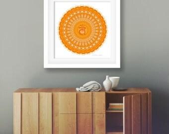 Sacral chakra art print yoga poster geometric decor mandala print bright orange wall art vibrant artwork colorful Svadhisthana second chakra
