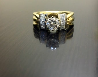 18K Yellow Gold Diamond Engagement Ring - 18K Gold Diamond Wedding Ring - 18K Two Tone Gold Diamond Ring - Modern Princess Cut Diamond Ring