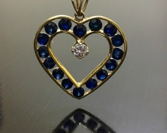 14K Yellow Gold Heart Sapphire Diamond Necklace - 14K Gold Diamond Heart Sapphire Necklace - 14K Diamond Pendant - Sapphire Heart Pendant