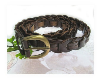 men's woven belt  -brown leather belt -   , men's dress belt - size up to 40 inches ,  # B 22