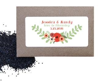 Wedding seed favors - shower favor - floral wild poppy seed favors for wedding or shower - love is blooming