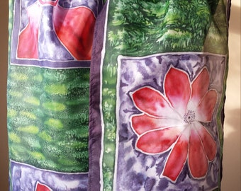 Unique Hand Painted Pure Silk Scarf with beautiful flower motifs painted on green background.Luxury gift for women and girls!Made to order!