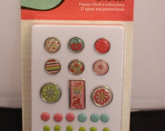 Paper Doll Art Brads, Card Embellishment, Coral Scrapbook embellishment, Epoxy and Painted Brads, mint brads, lime brads, coral brads