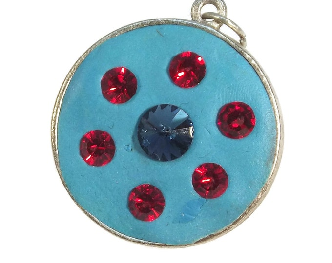 Antique Sterling Silver Plate Pendant made in Turquoise Blue Crystal Clay with Blue and Red Crystals ANIME OOAK