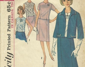 30% OFF SALE 1960s Suit and Overblouse Vintage Women's Sewing Pattern Simplicity 5793 Size 16 Bust 36 inches