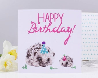 Happy Birthday Hedgehog Card - Hedgehog Birthday Card - Hedgehog Card - Birthday Card For Her - Cute Birthday Card - Hedgehog Card