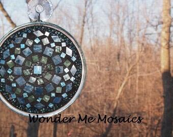 Stained Glass on Glass Mosaic - Blue Green Geometric Suncatcher