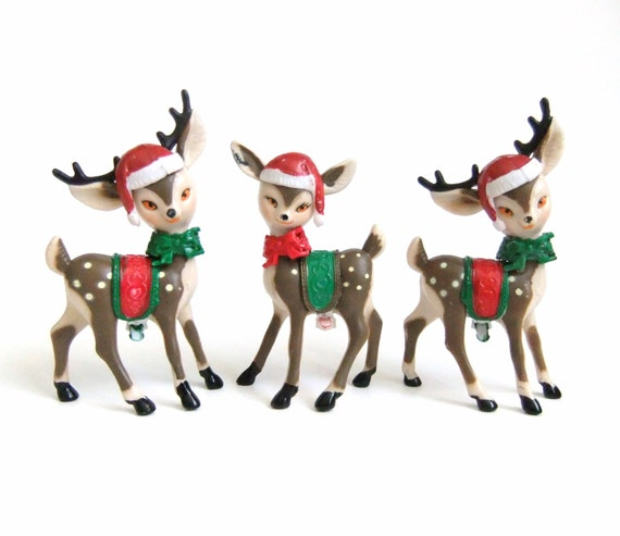 Christmas Deer Figurines, Plastic Deer, Vintage Reindeer Figurines, Red Green, Santa Hat Saddle Bow, Vintage Kitsch Christmas Decor