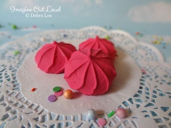 FAUX Cookie Meringue Raspberry Pink Set Fake Food Prop Photo Pastel Kitchen Decor Display