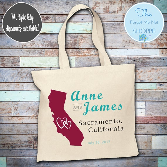 California State Wedding Tote Bag ~ Bride to Be tote bag, Nautical, bachelorette ,Mother,  party tote, Wedding Favor, Gift Tote