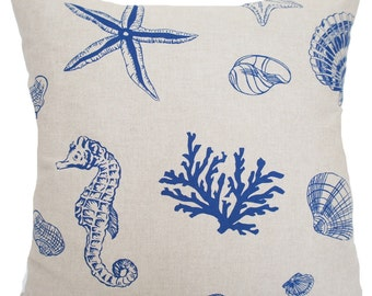 Blue Coral Cushion Covers Pillow Throw Cases Printed Fabric Sea Horse Design Grey Cotton Linen