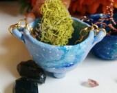Pastel Pulsars Cauldron - Galaxy, nebula painted miniature, tiny polymer clay cauldron with chain